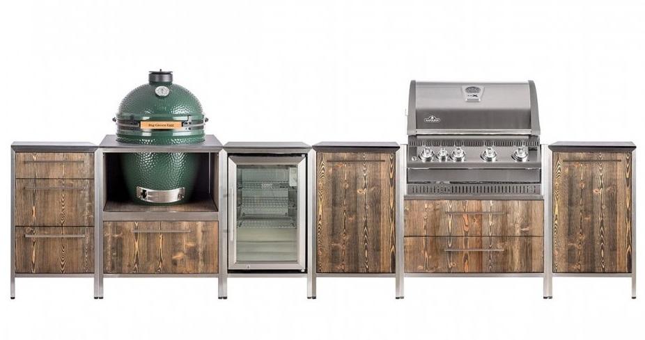 Zahradní kuchyně Gabasol s vestavěným grilem a lednicí - nerez + dřevo